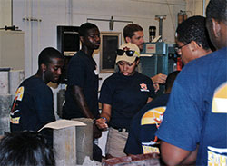 students in concrete lab