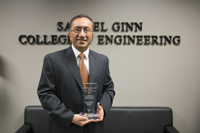 Pradeep Lall with the 2016 Alexander Schwarzkopf Prize for Technological Innovation.