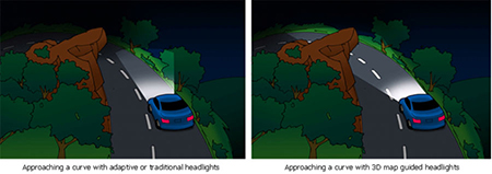 Adaptive and 3D map-guided headlights