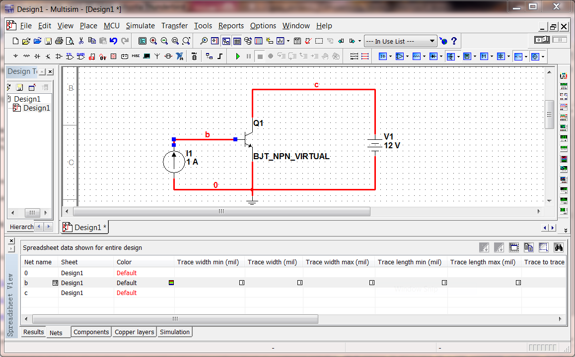 2 Multisim Tutorial Using Bipolar Transistor Circuit Is Modeled On A Schematic The Nodes Are Wires Between Wiring
