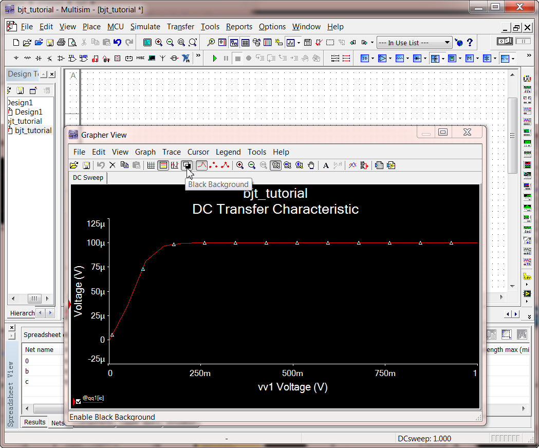 2 Multisim Tutorial Using Bipolar Transistor Circuit Your Own Like Design And Simulation Application Grapher Single Ib Change Bg