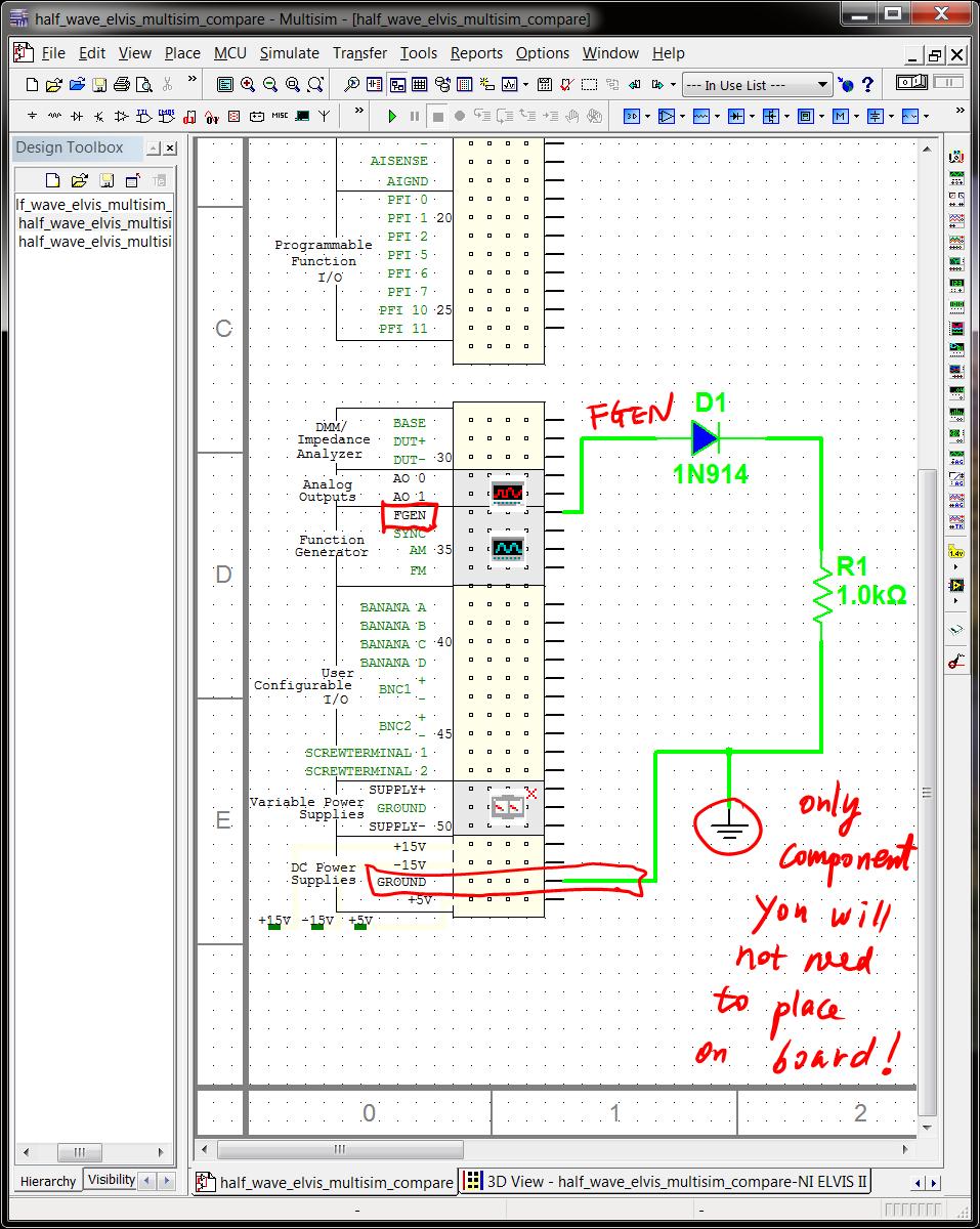 4 Virtual Breadbording And Correctness Verification Circuit Halfwave Rectifier Half Wave Elvis Design
