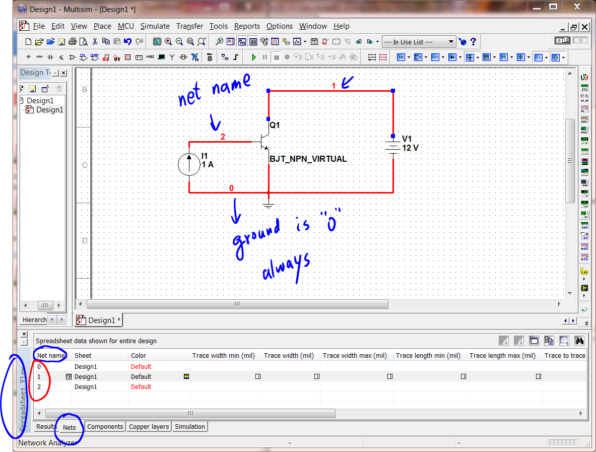 2 Multisim Tutorial Using Bipolar Transistor Circuit Npn Switch Net Names Spreadsheet